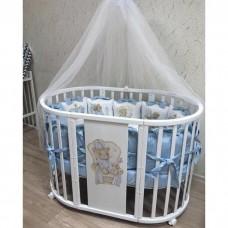 Круглая-овальная кроватка 7в1 MIKA DYNASTY белый