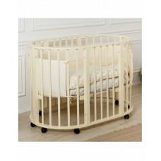 Дет. круглая кроватка Roxie Incanto 3 в 1 (8 колёс, люлька 75*75, кроватка 3 уровня)сл.кость