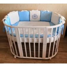 Круглая-овальная кроватка 7в1 MIKA LAIT 75-125  4 колеса слоновая кость