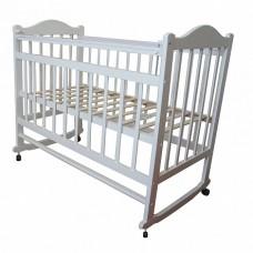 Кровать детская 01 колесо-качалка съемная боковая стенка белый ММ1-3