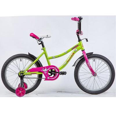 "Велосипед NOVATRACK 18"" NEPTUNE салатовый, тормоз нож, крылья корот, защита А-тип"