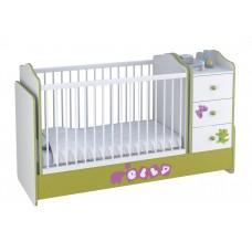 Кроватка детская Polini kids Basic Elly с комодом, белый-зеленый