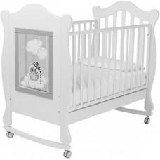 "Кроватка ""Колесо-Качалка"" FINESTRA 120х60 Белый/Какао"