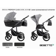 Коляска 2 в 1 Bebetto Bresso Premium Class DARK 2020 (экокожа+ткань) 02/рама хромир. металлик