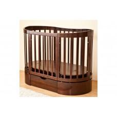 Кроватка овальная Паулина-4 С-324 125х65 маятн.прод. ящ, Шоколад