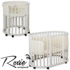 Дет. круглая кроватка Roxie Incanto 3 в 1 (8 колёс, люлька 75*75, кроватка 3 уровня)белый