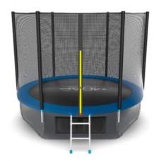 Батут с внешней сеткой и лестницей, диаметр 10ft (синий) + нижняя сеть серия EXTERNAL