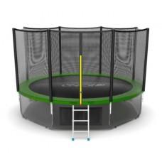 Батут с внешней сеткой и лестницей, диаметр 12ft (зеленый) + нижняя сеть серия EXTERNAL