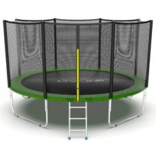Батут с внешней сеткой и лестницей, диаметр 12ft (зеленый) серия EXTERNAL