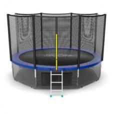 Батут с внешней сеткой и лестницей, диаметр 12ft (синий) + нижняя сеть серия EXTERNAL