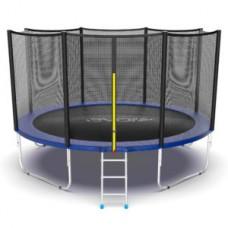 Батут с внешней сеткой и лестницей, диаметр 12ft (синий) серия EXTERNAL