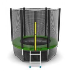Батут с внешней сеткой и лестницей, диаметр 6ft (зеленый) + нижняя сеть серия EXTERNAL
