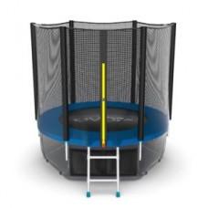 Батут с внешней сеткой и лестницей, диаметр 6ft (синий) + нижняя сеть серия EXTERNAL