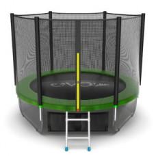 Батут с внешней сеткой и лестницей, диаметр 8ft (зеленый) + нижняя сеть серия EXTERNAL