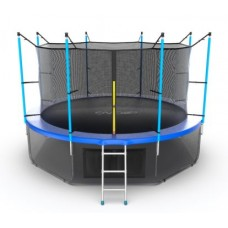 Батут с внутренней сеткой и лестницей, диаметр 12ft (синий) + нижняя сеть серия INTERNAL
