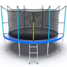 Батут с внутренней сеткой и лестницей, диаметр 12ft (синий) серия INTERNAL