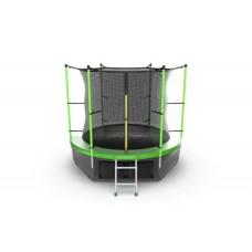 Батут с внутренней сеткой и лестницей, диаметр 8ft (зеленый) + нижняя сеть серия INTERNAL