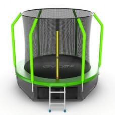 Батут с внутренней сеткой и лестницей, диаметр 8ft (зеленый) + нижняя часть серия COSMO