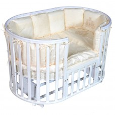 """Детская кровать """"Aleksa""""6 в1 ПВХ накладка,универсальный маятник, колесо, белый"""