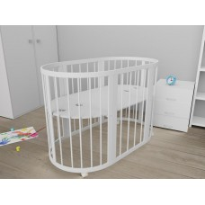 Круглая кроватка-трансформер Standart (78х78 см, 78х130 см) белый