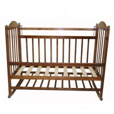 Кровать детская 01 колесо-качалка съемная боковая стенка темный
