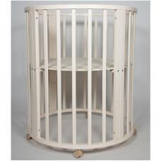 Круглая-овальная кроватка 7в1 MIKA ART слоновая кость
