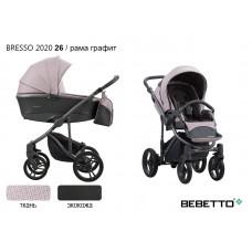 Коляска 2 в 1 Bebetto Bresso 2020 (экокожа+ткань) 26/рама графит
