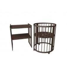Круглая кроватка-трансформер Standart (78х78 см, 78х130 см) венге