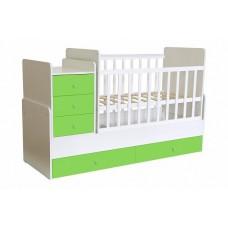 Кроватка детская Polini kids Simple 1111 с комодом, белый-лайм
