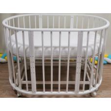 Круглая-овальная кроватка 7в1 MIKA ART белый