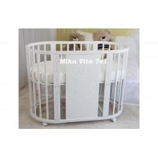 Круглая-овальная кроватка 7в1 MIKA VITA c  картинкой V.I.P. 65-125  4 колеса белая
