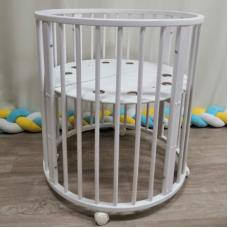 Круглая-овальная кроватка 7в1 MIKA ART серый