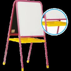 Мольберт МДУ.06 двухсторонний для рисования маркерами и мелом. Азбука и цифры.Розовый