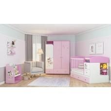 """Шкаф трехсекционный Polini kids Disney baby """"Минни Маус-Фея"""" с ящиками, белый-розовый"""