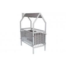 Кровать SIMPLY+(с бортиком и накидкой на крышу, цвет: белый серый)