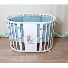 Круглая-овальная кроватка 7в1 MIKA GRACE белый