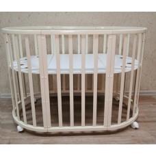 Круглая-овальная кроватка 7в1 MIKA MINI 75-125  4 колеса слоновая кость
