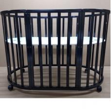 Круглая-овальная кроватка 7в1 MIKA ART венге