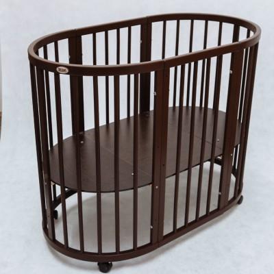 Круглая кроватка-трансформер Premium (70х80 см, 70х128 см) венге