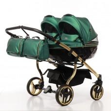JUNAMA FLUO LINE DUO JDFL-02 Коляска детская 2 в 1 (кожа зеленый/короб черный/рама золото