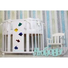 Круглая-овальная кроватка 7в1 MIKA NORI РЫБКИ-МОЗАЙКА 75-125  4 колеса белая