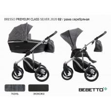 Коляска 2 в 1 Bebetto Bresso Premium Class SILVER 2020 (экокожа+ткань) 02/рама серебряная