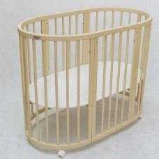 Круглая кроватка-трансформер Premium (70х80 см, 70х128 см) слоновая кость