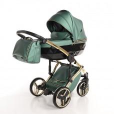JUNAMA FLUO LINE JDFL-02 Коляска детская 2 в 1 (кожа зеленый/короб черный/рама золото)