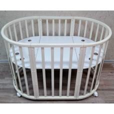 Круглая-овальная кроватка 7в1 MIKA MINI 75-125  4 колеса белая