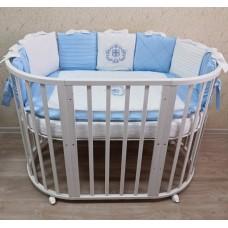 Круглая-овальная кроватка 7в1 MIKA LAIT 75-125  4 колеса белая