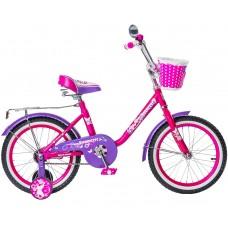 "Велосипед Black Aqua Princess 18"" 1s со светящимися колесами, розово-сиреневый"