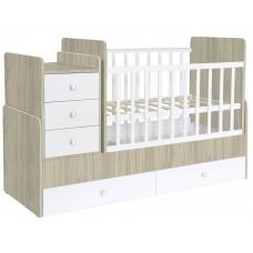 Кроватка детская Polini kids Simple 1100 с комодом, вяз-белый