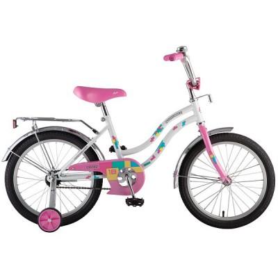 "Велосипед NOVATRACK 18"" TETRIS белый, тормоз нож, крылья цвет, багажник, корзина, защита А-тип"