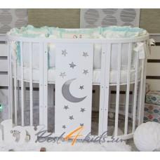 Круглая-овальная кроватка 7в1 MIKA NORI ЛУНА-МОЗАЙКА 75-125  4 колеса белая
